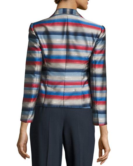 Striped Jacquard Three-Button Jacket, Multi