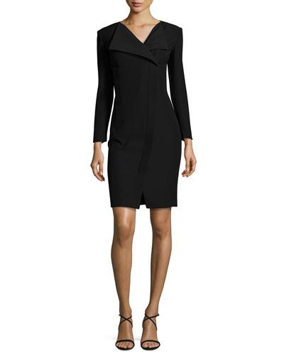 Tech Cady Flap-Collar Dress, Black