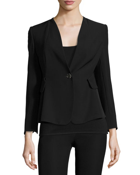Armani Collezioni Techno Cady One-Button Jacket, Black