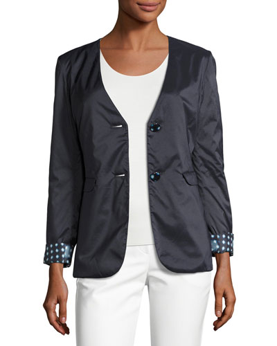 Reversible Dot-Print Two-Button Jacket, Navy/Multi Top Reviews