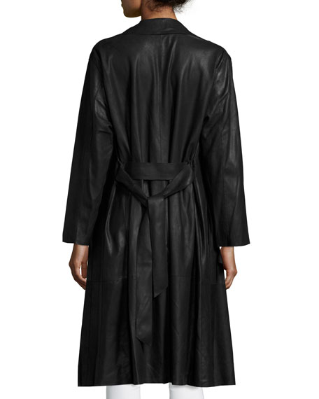 Belted Leather Trenchcoat, Black