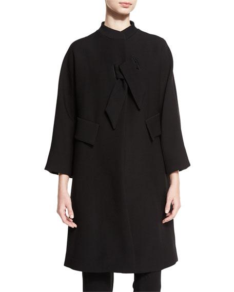 Armani Collezioni Double-Cloth Bracelet-Sleeve Coat, Black