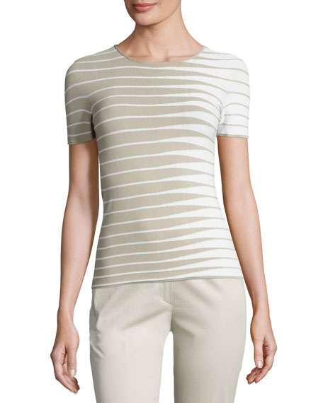 Armani Collezioni Alternating-Stripe Short-Sleeve Sweater,