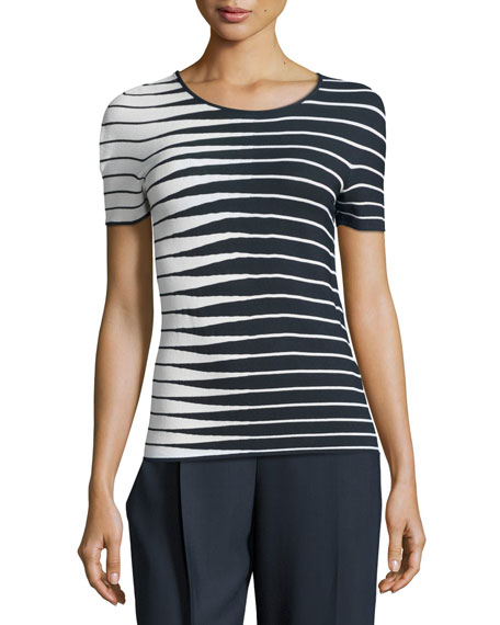 Armani Collezioni Alternating-Stripe Short-Sleeve Sweater, Navy/Multi