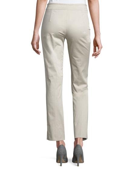Stretch-Cotton Ankle Pants, Beige