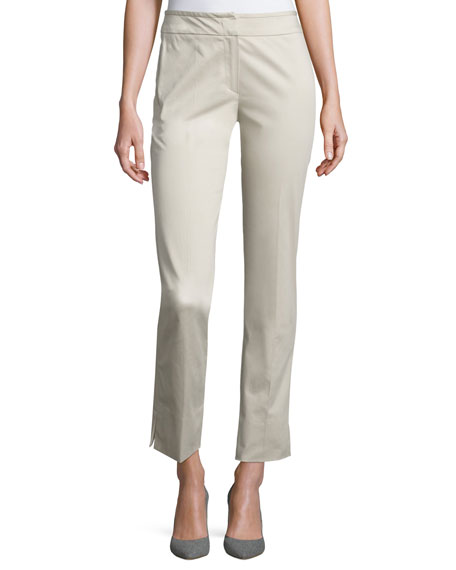 Armani Collezioni Stretch-Cotton Ankle Pants, Beige