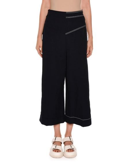 Side-Button Wide-Leg Palazzo Pants, Navy