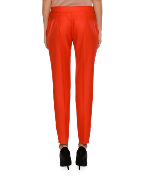 Anna Raised-Seam Straight-Leg Trousers, Cornflower Blue