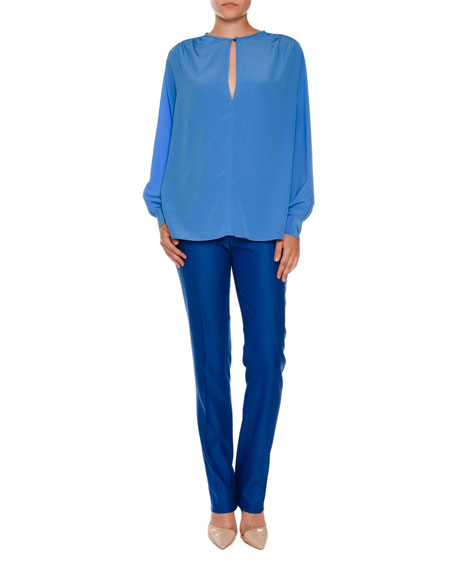 Anna Raised-Seam Straight-Leg Trousers, Cornflower Blue
