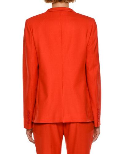 STELLA MCCARTNEY Wools FLEUR STAND-COLLAR ONE-BUTTON JACKET, CORNFLOWER BLUE