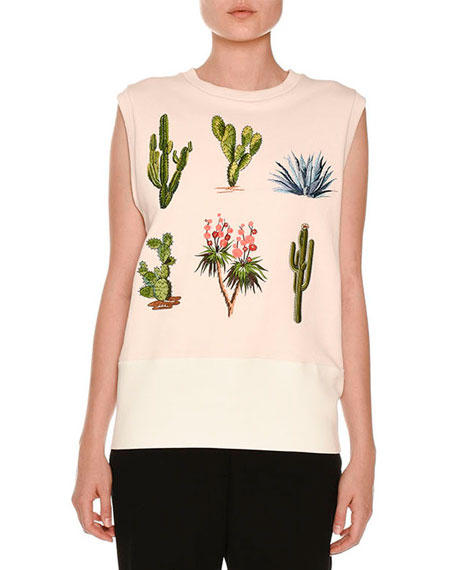 Scuba Cactus-Patch Sleeveless Sweater, Jasmine Pink