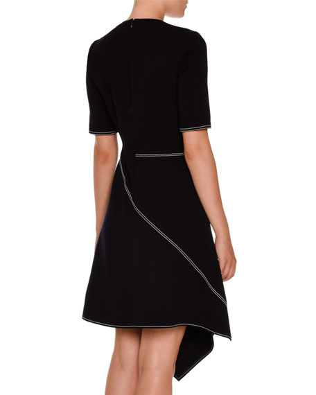 Asymmetric Topstitched Half-Sleeve Dress, Navy
