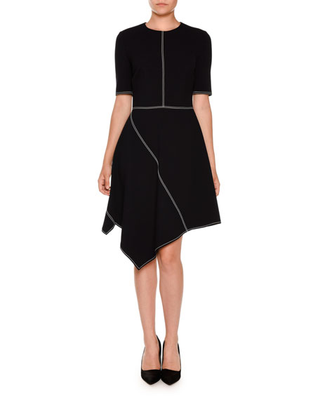 Stella McCartney Asymmetric Topstitched Half-Sleeve Dress, Navy
