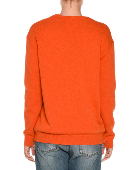 Fish Logo Intarsia Sweater, Orange