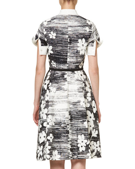 Short-Sleeve Floral Belted Shirtdress, Black/White