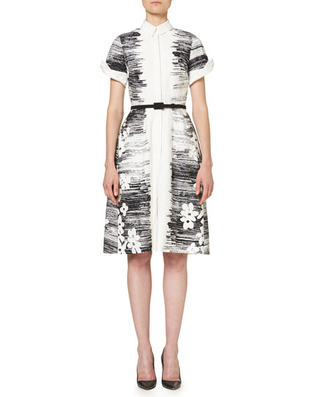Short-Sleeve Floral Belted Shirtdress, Black/White