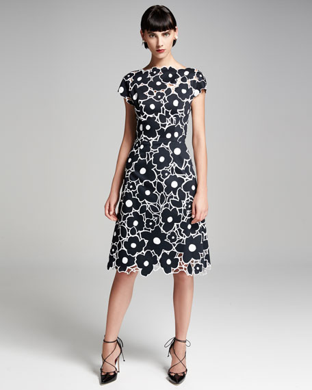 Floral Cutout Cap-Sleeve Cocktail Dress, Black/White