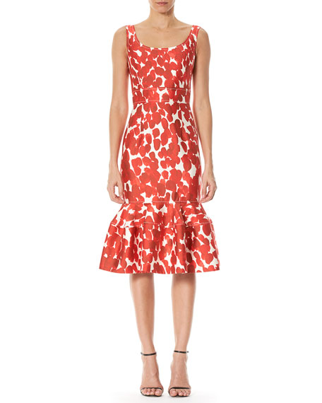 Carolina Herrera Printed Sleeveless Flounce Dress, Poppy Red