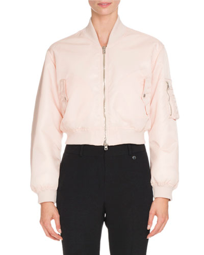 Nylon Zip-Front Cropped Bomber Jacket, Skin