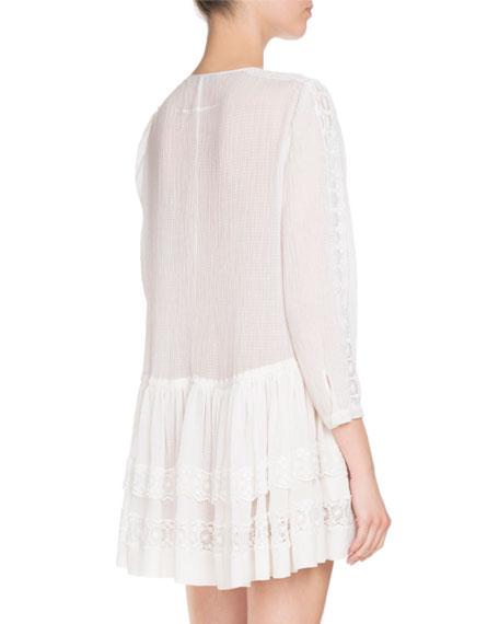 Layered Lace-Trim Long-Sleeve Dress, White