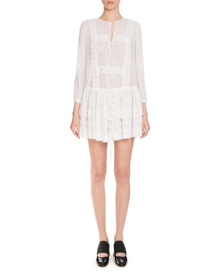 Givenchy Layered Lace-Trim Long-Sleeve Dress, White