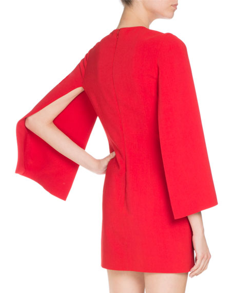 Givenchy Fitted Cape-Sleeve Shift Dress, Red