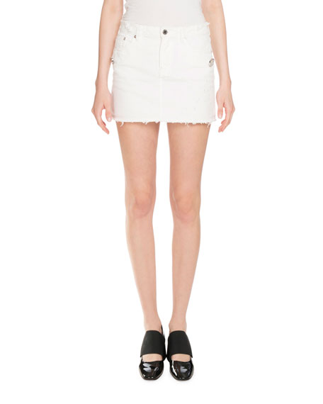 givenchy distressed denim mini skirt white