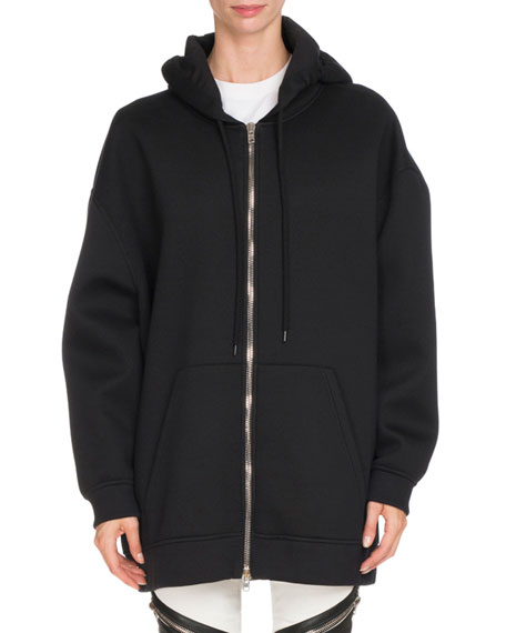 Givenchy Neoprene Zip-Front Hooded Jacket, Black
