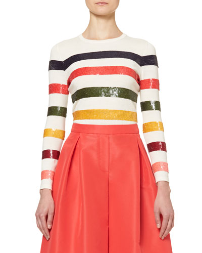 Sequin-Striped Crewneck Sweater, Multicolor Best Reviews