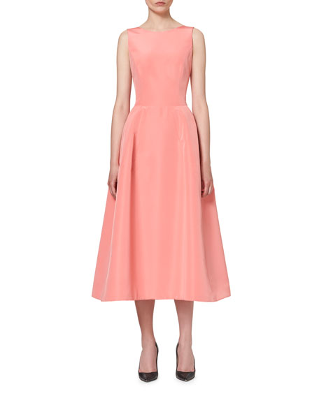 Carolina Herrera Sleeveless Tie-Back Midi Cocktail Dress, Shell