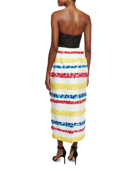 Strapless Striped 3D-Floral Gown, Multi