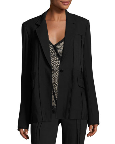 Seamed One-Button Jacket, Black