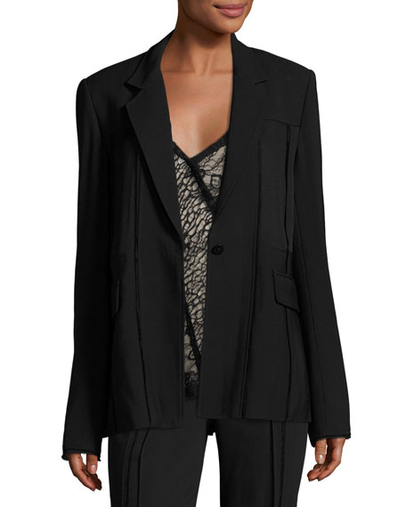 Jason Wu Seamed One-Button Jacket, Black