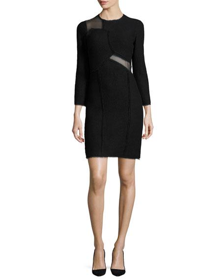 Jason Wu Mesh-Inset 3/4-Sleeve Sheath Dress, Black