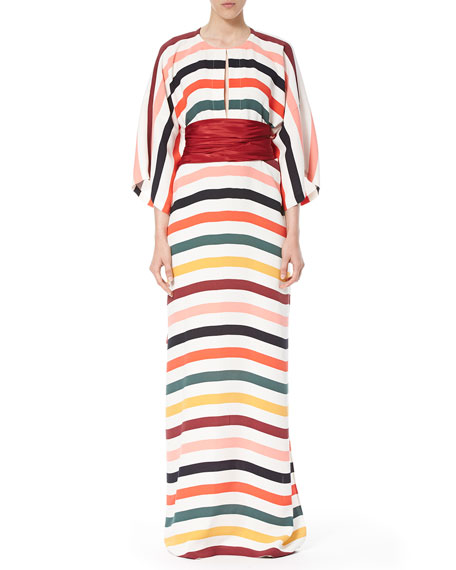 Carolina Herrera Striped Belted Caftan Gown, Multi