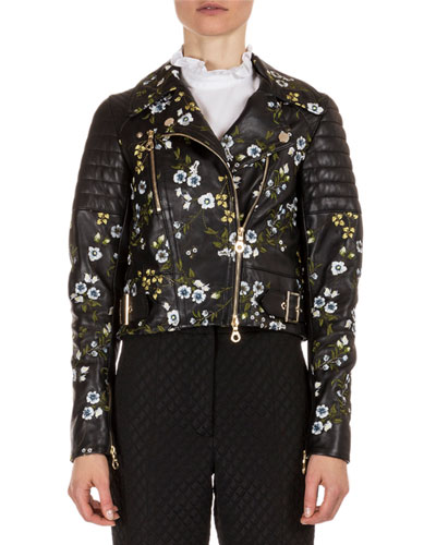 Frazey Floral-Embroidered Leather Biker Jacket, Black/Multi