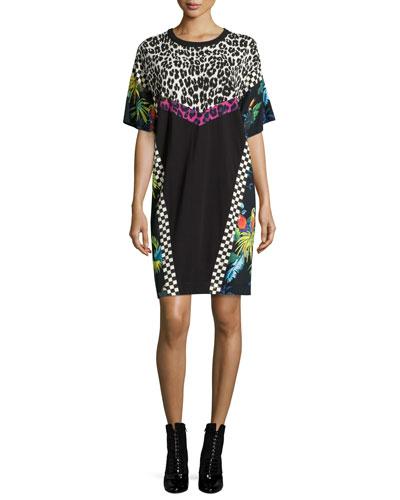Patchwork Short-Sleeve Shirtdress, Multi