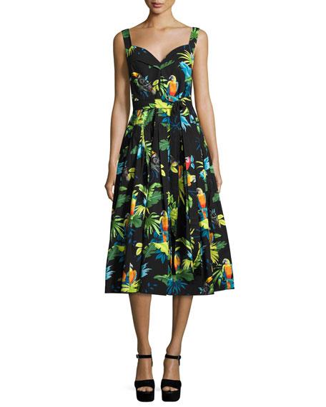 Parrot-Print Sleeveless Midi Dress, Black/Multi