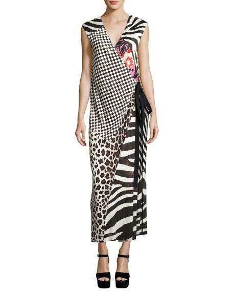 Mixed-Media Sleeveless Jersey Wrap Dress, Black