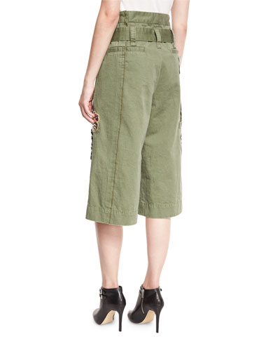 MARC JACOBS Militarys EMBELLISHED CARGO SHORTS, MILITARY GREEN