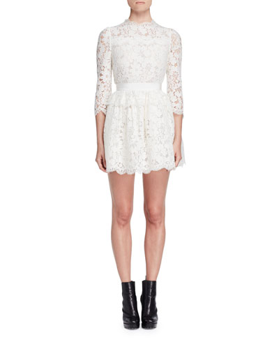 3/4-Sleeve Floral-Lace Dress, Ivory