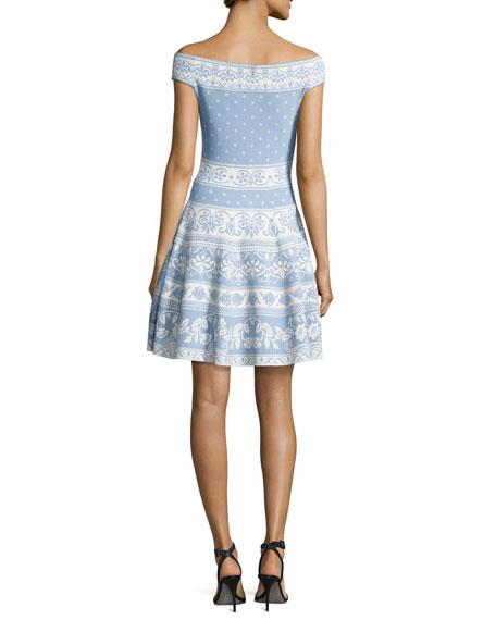 61b1569b43c7 Alexander McQueen Floral-Knit Off-Shoulder Dress