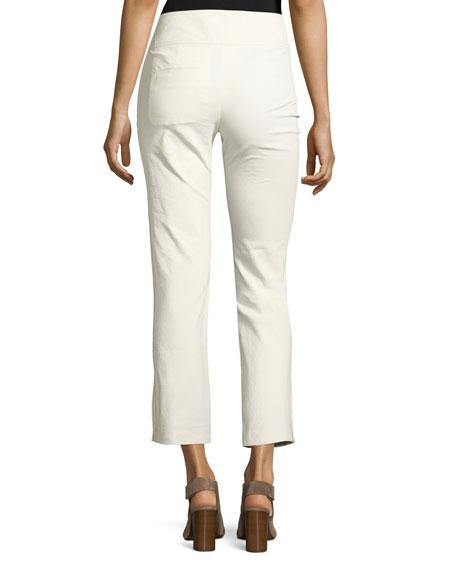 Wide-Waist Slim Cropped Pants