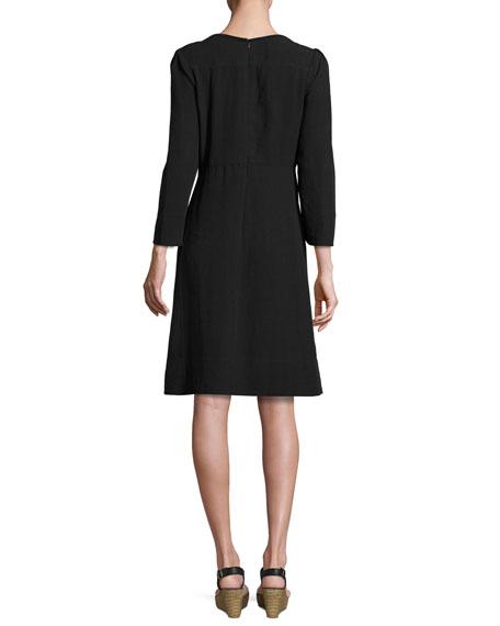 Crochet-Trim Bracelet-Sleeve Linen Dress, Black