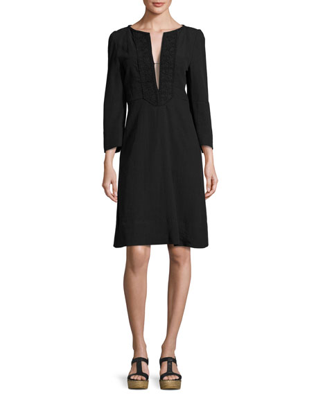 Isabel Marant Crochet-Trim Bracelet-Sleeve Linen Dress, Black