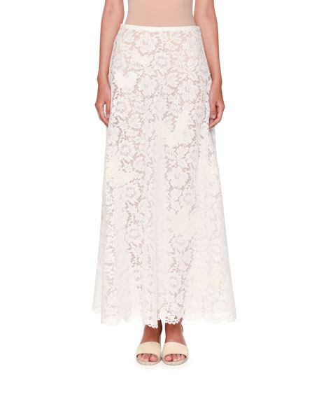Valentino Butterfly Lace A-Line Maxi Skirt, White