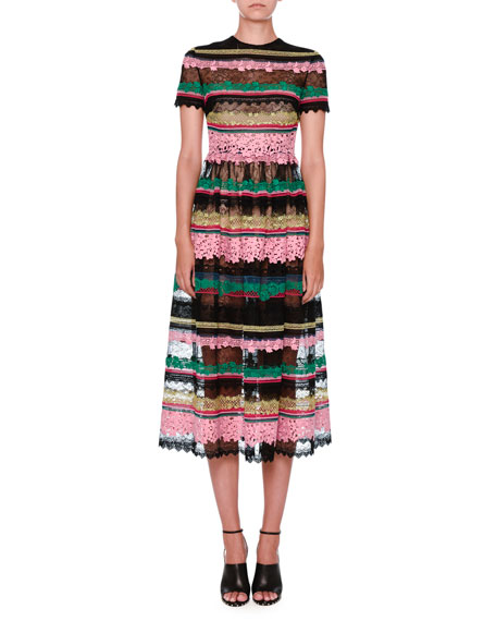 Striped-Lace Short-Sleeve Cocktail Dress, Multi/Black