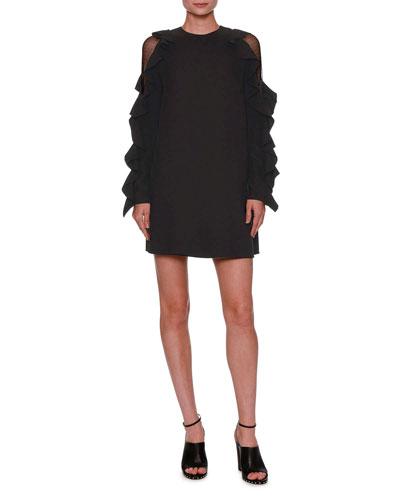 Lace-Inset Ruffled Long-Sleeve Dress, Black