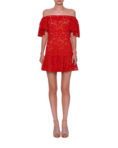 Lace Off-the-Shoulder Mini Dress, Metallic Red