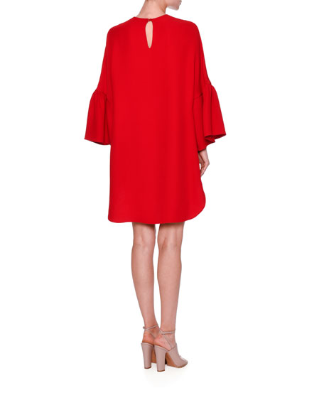 Bell-Sleeve High-Low Dress, Red